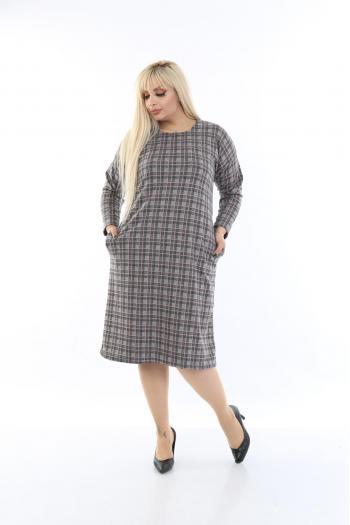 Макси рокля в пепитен десен.   /размери 2XL,3XL,4XL/ Модел: 364
