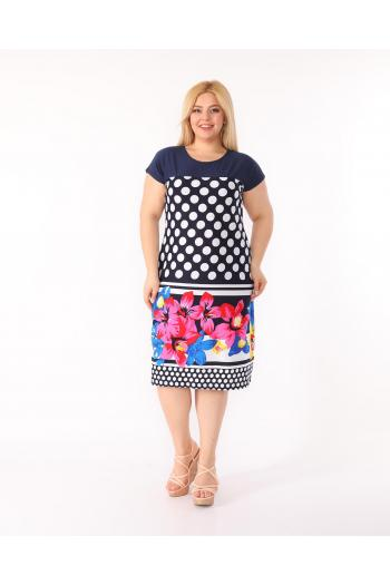 Макси рокля на точки и цветя  /размери 2XL,3XL,4XL/ Модел: 344