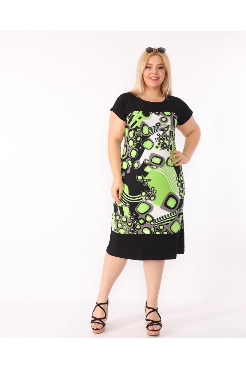 Кокетна рокля в красив десен /размери 2XL,3XL,4XL/ Модел: 401