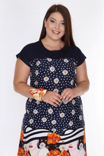 Свежа рокля в пастелни цветове. /размери 2XL,3XL,4XL/ Модел: 405
