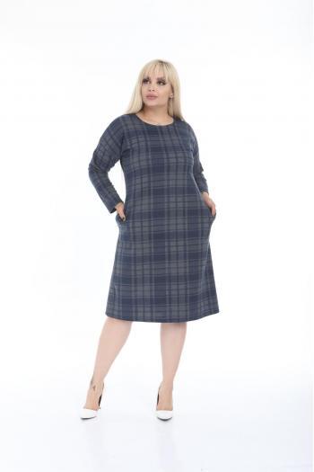Макси рокля в синьо каре /размери 2XL,3XL,4XL/ Модел: 522