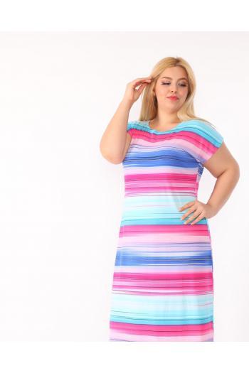 Пастелна рокля в свежи цветове /размери 2XL,3XL,4XL/ Модел: 494