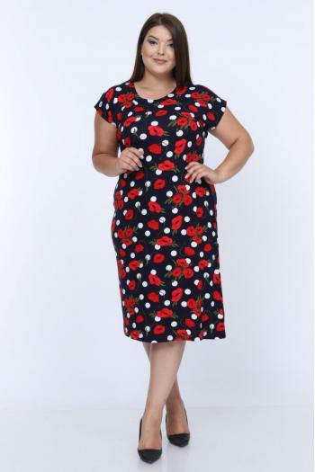 Пъстра рокля на макове. /размери 2XL,3XL,4XL/ Модел: 344