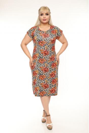 Макси рокля в красив свеж десен /2XL,3XL,4XL/ Модел: 362