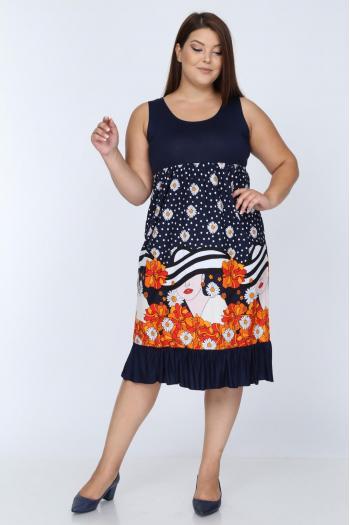Лятна макси рокля без ръкави на маргарити и лице /размери 2XL,3XL,4XL/ Модел: 403