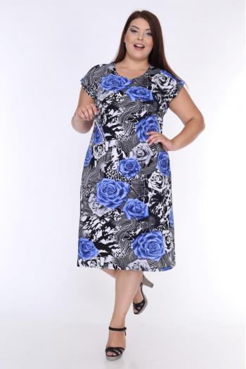 Красива рокля на рози /размери 2XL,3XL,4XL/ Модел: 346