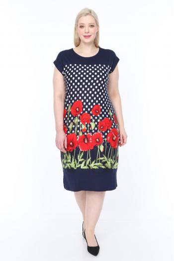 Свежа лятна рокля на макове /размери 2XL,3XL,4XL/ Модел: 365