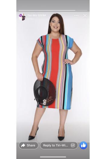 Свежа рокля в контрастни цветове /размери 2XL,3XL,4XL/ Модел: 306
