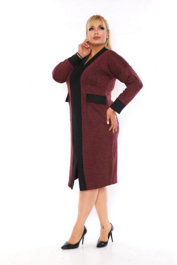 Изискана рокля в бордо /размери 2XL,3XL,4XL/ Модел: 346