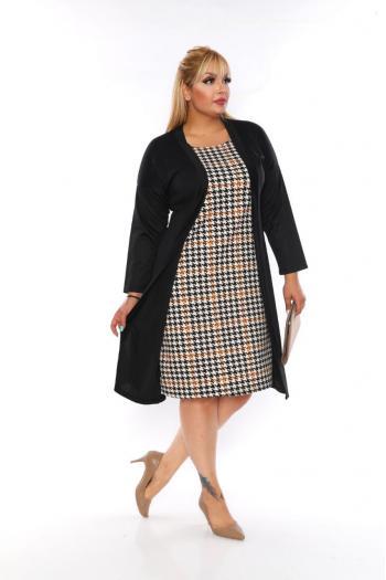 Стилна  рокля с пепитен десен.   /размери 2XL,3XL,4XL/ Модел: 364