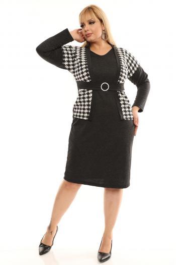 Черна макси рокля в комбинация с пепид /размери 2XL,3XL,4XL/ Модел: 468