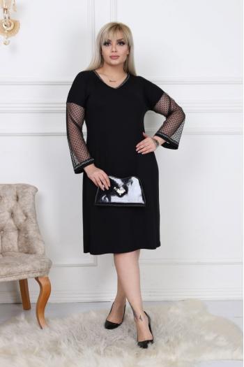 Изящна макси рокля с ръкави от тюл /размери 2XL,3XL,4XL/ Модел: 287
