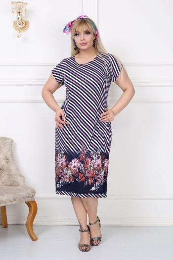 Пъстра рокля на цветя и райе /размери 2XL,3XL,4XL/ Модел: 495