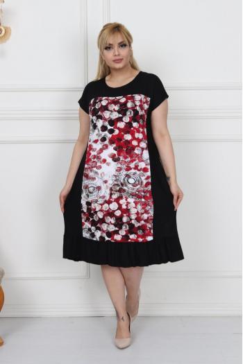 Макси рокля на цветни точки /размери 2XL,3XL,4XL/ Модел: 367