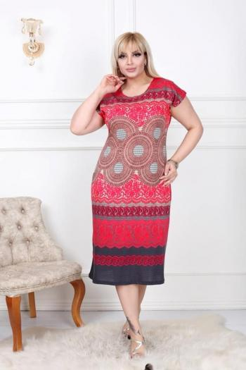 Пастелна рокля в червен десен /размери 2XL,3XL,4XL/ Модел: 494