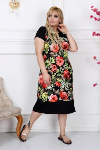2ae7731fead Черна макси рокля на свежи цветя /размери 2XL,3XL,4XL/ Модел: