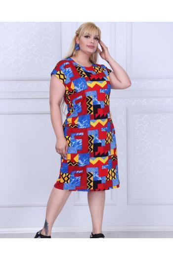 Красива рокля в нежен цветен принт /размери 2XL,3XL,4XL/ Модел: 364