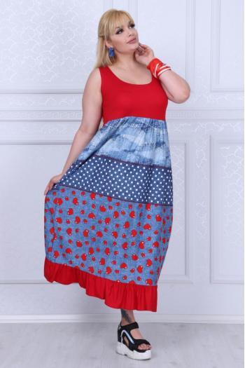 Макси рокля с цветен дънков десен /размери 2XL,3XL,4XL/ Модел: 381