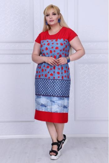 Красива рокля на сърца и дънков принт/рамери 2XL,3XL,4XL/ Модел: 305