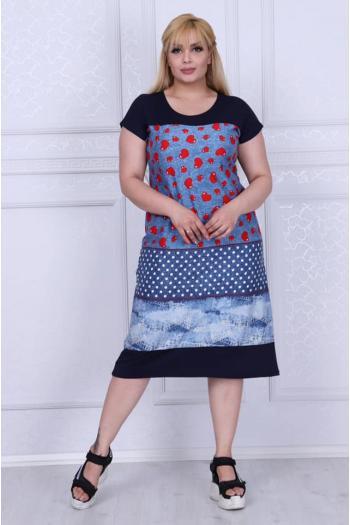 Дамска макси рокля имитиращ дънков плат и на сърца /размери 2XL,3XL,4XL/ Модел: 346