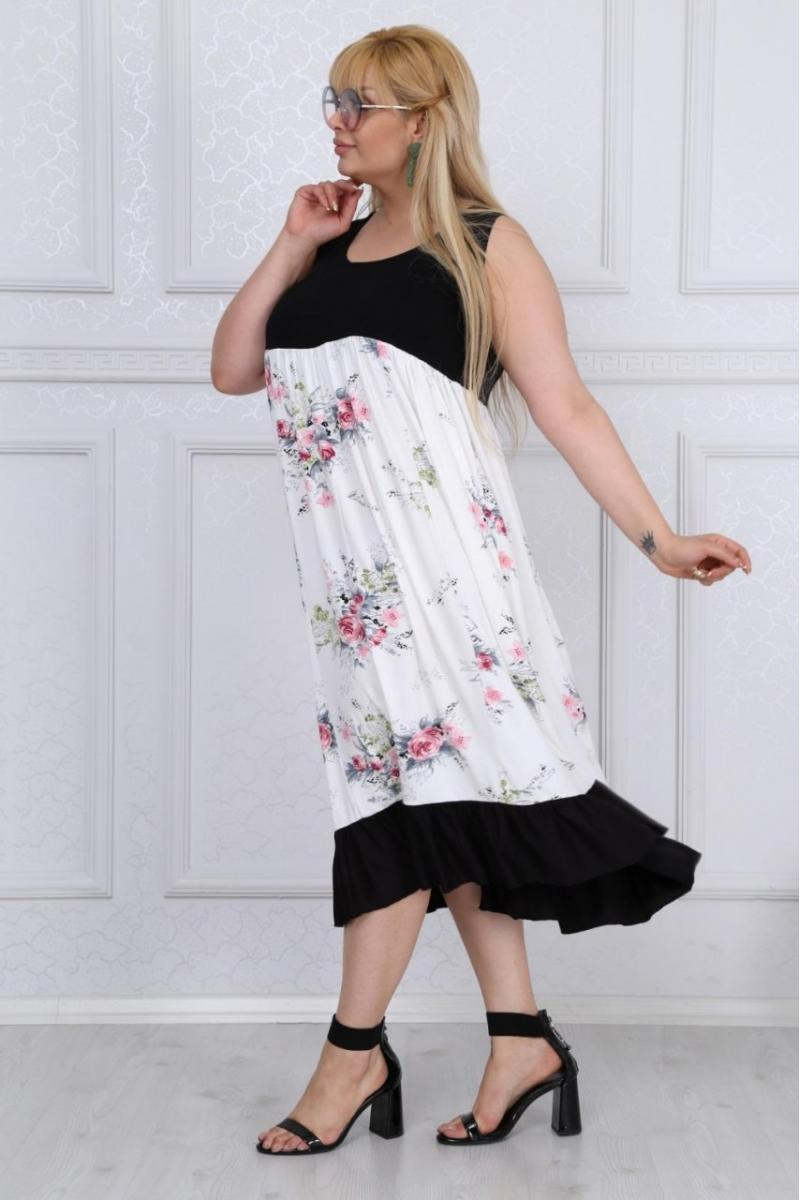 Макси рокля в свеж летен принт /размери 2XL,3XL,4XL/ Модел: 397