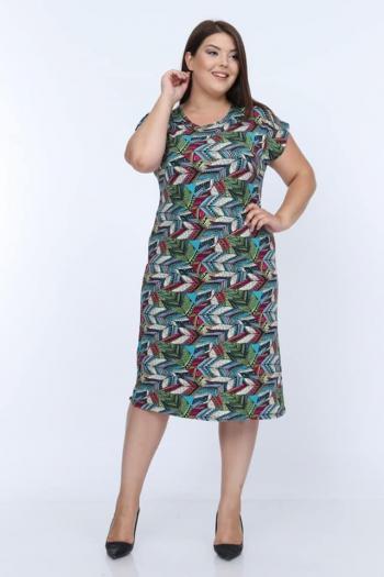 Свежа макси рокля с цветни мотиви / размери 2ХL,3ХL,4ХL/Модел:321