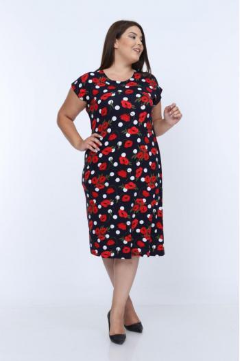 Макси рокля на макове /размери 2XL,3XL,4XL/ Модел: 396
