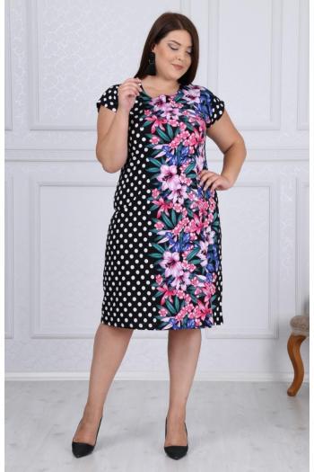 Пъстра рокля на точки и цветя. /размери 2XL,3XL,4XL/