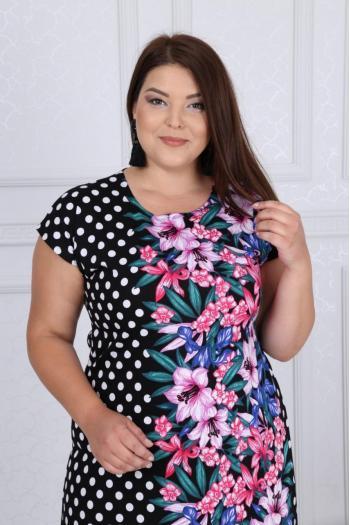 Пастелна рокля на цветя и точки /размери 2XL,3XL,4XL/ Модел: 347