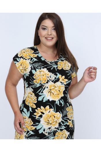 Макси рокля в красив десен /размери 2XL,3XL,4XL/ Модел: 345