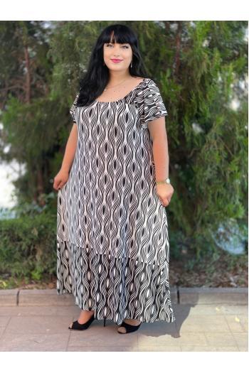 Дълга рокля в черно-бял принт /Универсален размер/ Модел: 720