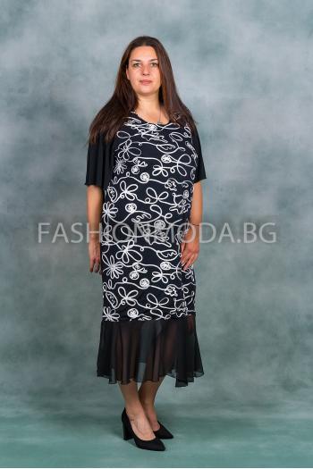 Дълга макси рокля с тюл /размери 3XL,4XL/ Модел: 384