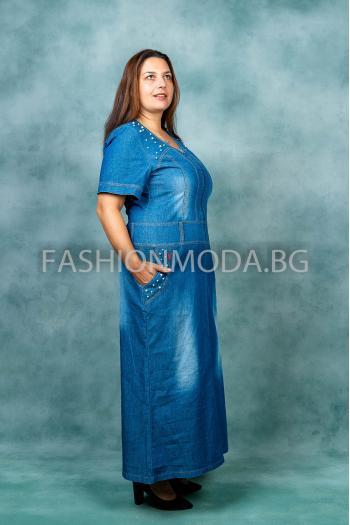 Дълга дънкова рокля /размери 60,62,64/ Модел: 386