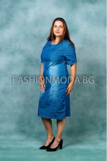 Макси рокля в светъл деним /размери 60,62,64/ Модел: 388