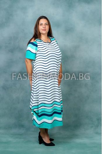 Свежа рокля на райета в два макси размера /4XL,5XL/ Модел: 387