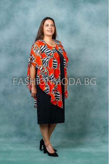Елегантна макси рокля в цветен нюанс /размери 3XL,4XL/ Модел: 398