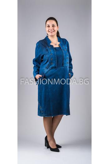 Дънкова рокля с големи капси /размери 56,58,60/