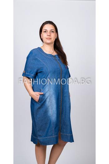 Дънкова макси рокля с цип /размери 58,60,62,64,66/ Модел: 291