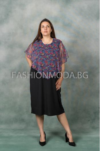 Макси рокля в цветен десен /размери 3XL,4XL/ Модел:341