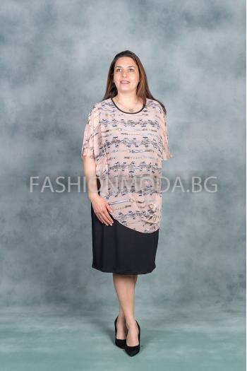 Стилна макси рокля от две части /размери 3XL,4XL/ Модел: 350